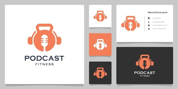 Diseño de logotipo de transmisión de ejercicio de podcast de fitness con pesas rusas con tarjeta de visita