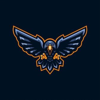 Diseño de logotipo de tres ojos cuervo esport