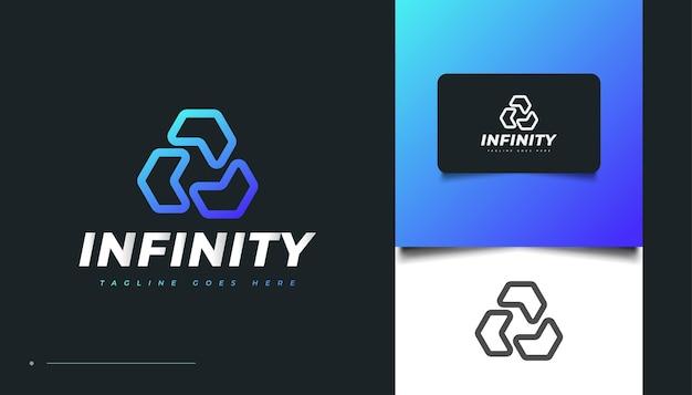 Diseño de logotipo de triángulo infinito en degradado azul para logotipos comerciales o tecnológicos