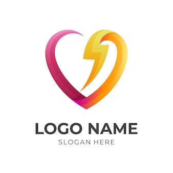 Diseño de logotipo y trueno de amor, iconos simples