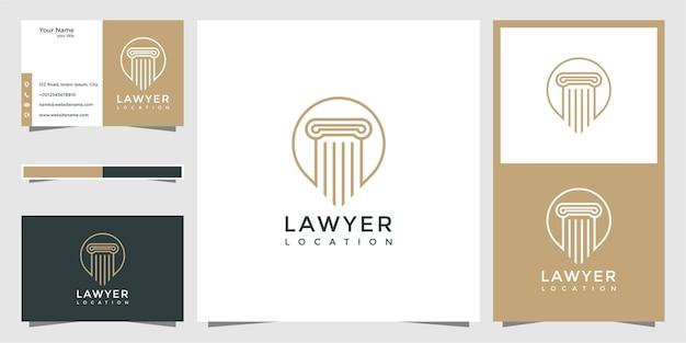Diseño de logotipo de ubicación de abogado y tarjeta de visita
