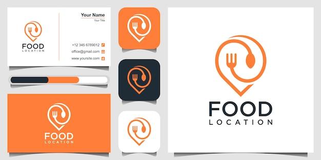 Diseño de logotipo de ubicación de alimentos, con el concepto de un pin y una tarjeta de visita