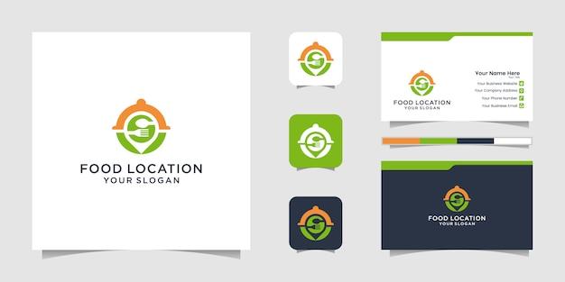 Diseño de logotipo de ubicación de alimentos, con el concepto de pin y tarjeta de visita.