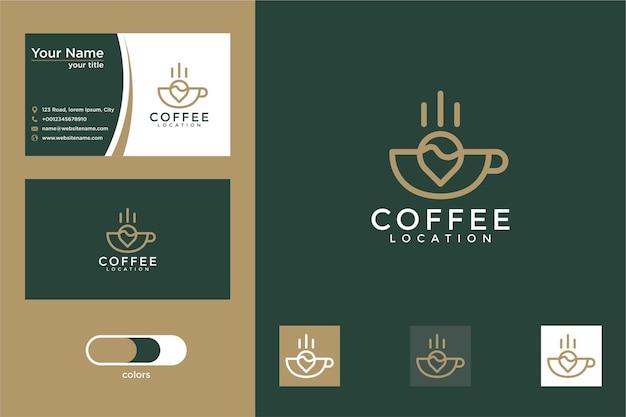 Diseño de logotipo de ubicación de café y tarjeta de visita