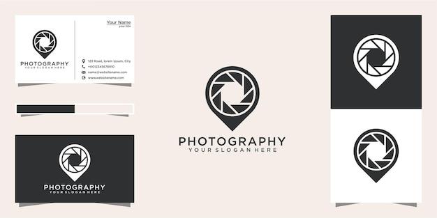 Diseño de logotipo de ubicación de fotografía y tarjeta de visita.