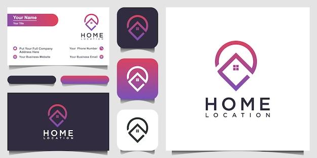 Diseño de logotipo de ubicación de inicio y tarjeta de visita