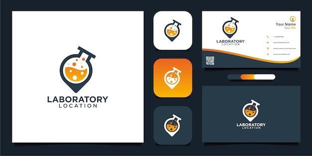 Diseño de logotipo de ubicación de laboratorio y tarjeta de visita