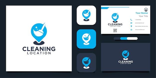Diseño de logotipo de ubicación de limpieza moderna y tarjeta de visita.