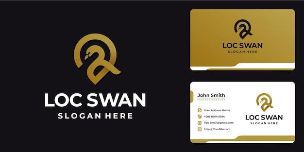 Diseño de logotipo de ubicación de pin de cisne y tarjeta de visita