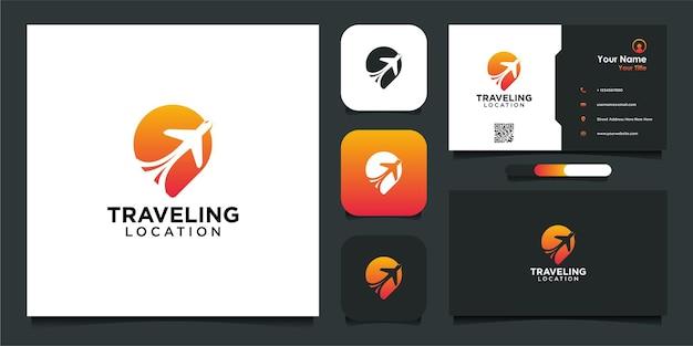Diseño de logotipo de ubicación de viaje y tarjeta de visita.