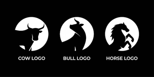 Diseño de logotipo de vaca, toro y caballo