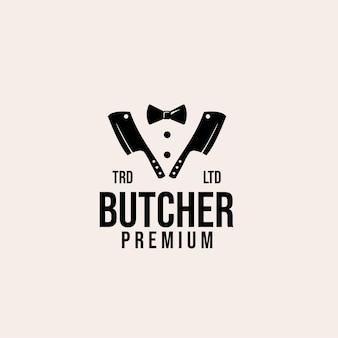 Diseño de logotipo de vector de carnicero maestro premium