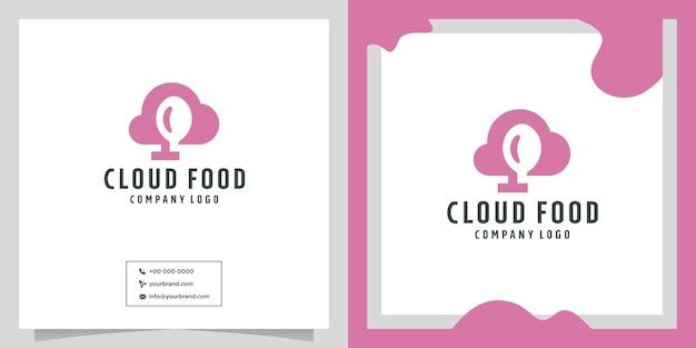 Diseño de logotipo de vector de comida en la nube