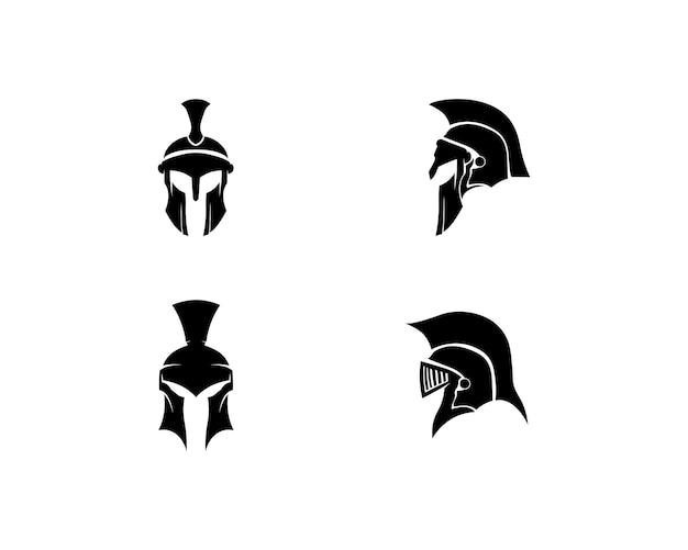 Diseño de logotipo y vector espartano casco y cabeza.
