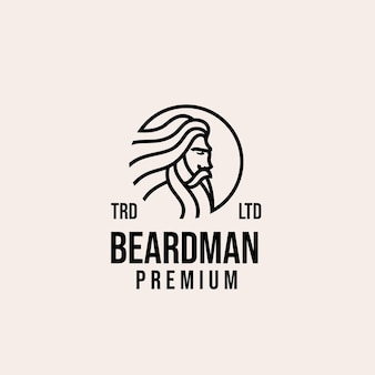 Diseño de logotipo de vector de hombre de barba vieja premium