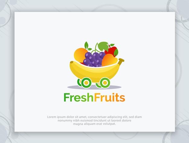 Diseño de logotipo vectorial de tienda de frutas