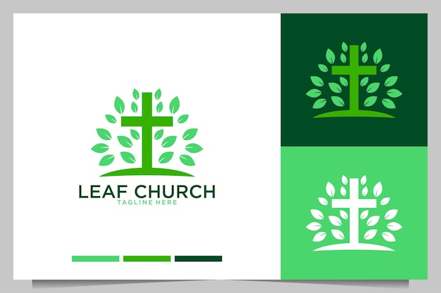 Diseño de logotipo verde hoja iglesia