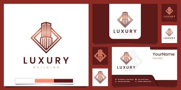 Diseño de logotipo de versión de arte de línea de edificio de lujo