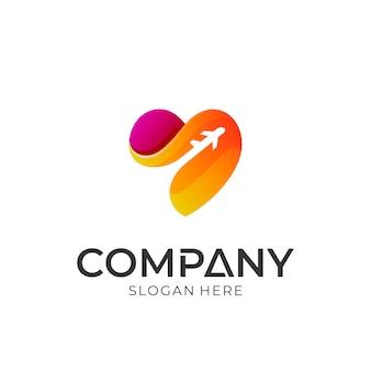 Diseño de logotipo de viaje de amor