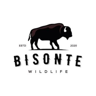 Diseño de logotipo de vida silvestre de bisonte