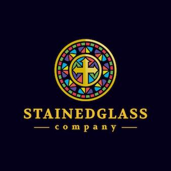 Diseño de logotipo de vidriera dorada