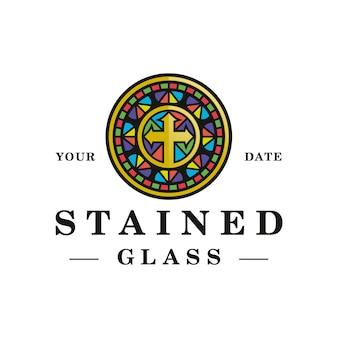 Diseño de logotipo de vidrieras coloridas
