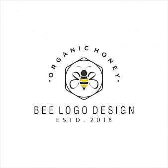 Diseño de logotipo vintage abeja