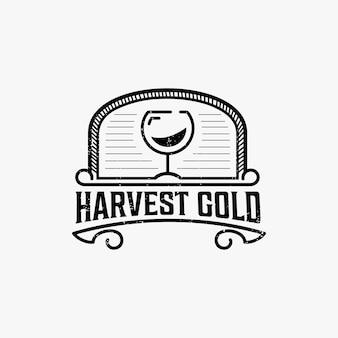 Diseño de logotipo vintage de bebida de vino