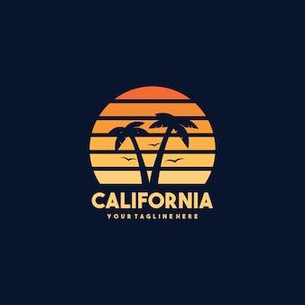 Diseño de logotipo vintage california beach