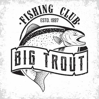 Diseño de logotipo vintage de club de pesca