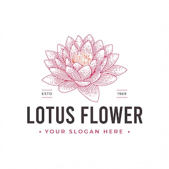 Diseño de logotipo vintage flor de loto