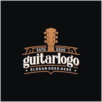Diseño de logotipo vintage de guitarra