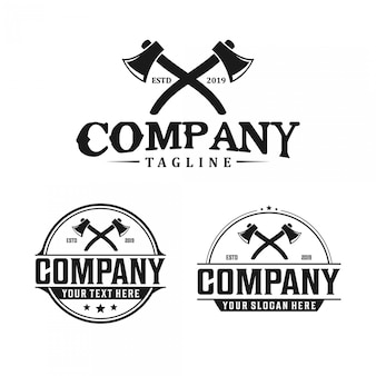 Diseño de logotipo vintage hacha