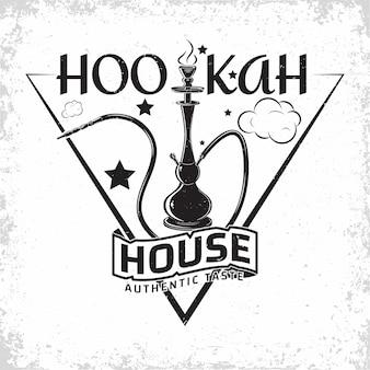 Diseño de logotipo vintage hookah lounge, emblema del club o casa de hookah, emblema de tipografía monocromática, sellos impresos con grange extraíble fácil