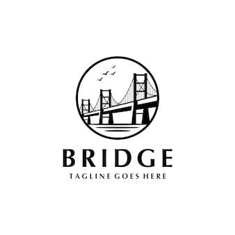 Diseño de logotipo vintage long bridge symbol