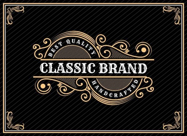 Diseño de logotipo vintage de lujo patrimonio dibujado a mano con marco decorativo