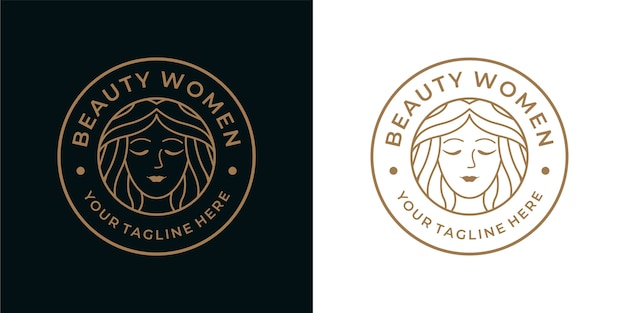 Diseño de logotipo vintage de mujer de belleza, se puede usar para spa, moda, cosmética, logotipo de spa