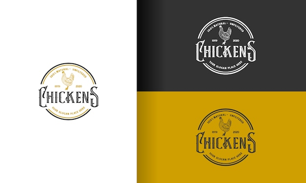Diseño de logotipo vintage de pollo / gallo