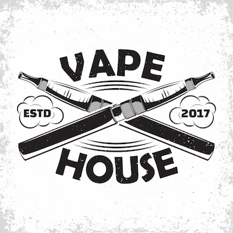 Diseño de logotipo vintage vape lounge, emblema del club o casa de vape, emblema de tipografía monocromática, sellos impresos con grange extraíble fácil