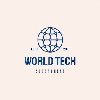 Diseño de logotipo de world tech, símbolo de plantilla de logotipo de globe technology