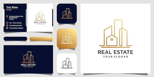 Diseño de logotipos de edificios en línea. diseño de logotipo y conjunto de tarjeta de visita