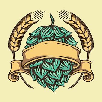 Diseño de logotipos de lúpulo y trigo