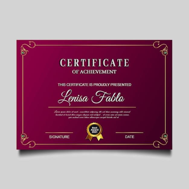 Diseño de logro de certificado de lujo