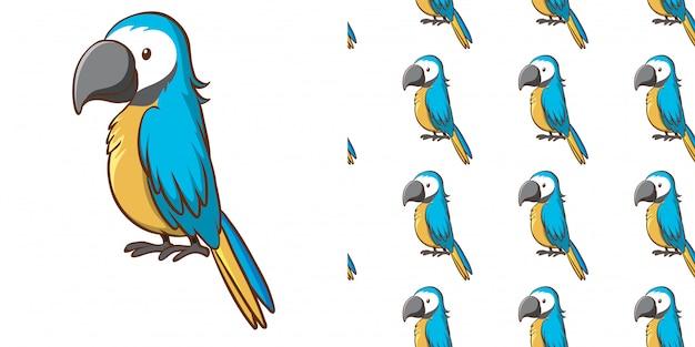 Diseño con loro azul de patrones sin fisuras