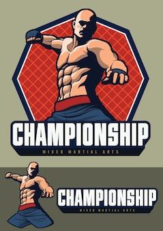 Diseño de luchador mma para insignia y logo.