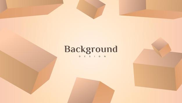 Diseño de lujo abstracto del fondo de la pendiente del oro del marrón del cubo 3d.