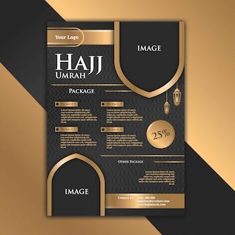 El diseño lujoso y elegante del folleto oro negro con el tema de hajj ayuda a que la publicidad se vuelva más atractiva.