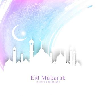 Diseño luminoso de eid mubarak