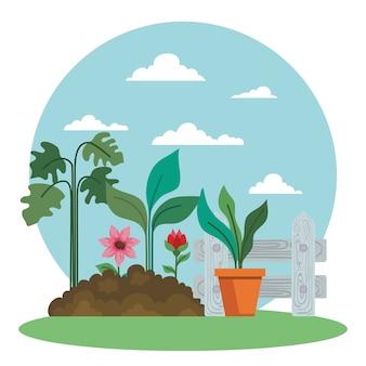 Diseño de macetas y flores de plantas de jardinería, plantación de jardines y tema de la naturaleza
