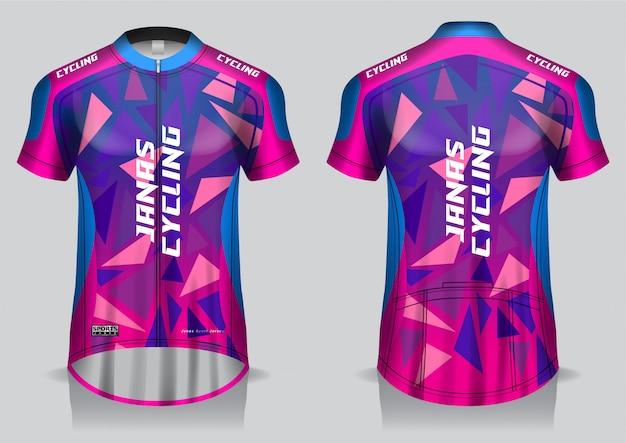 Diseño de maillot de ciclismo, camiseta de uniforme, vista frontal y trasera